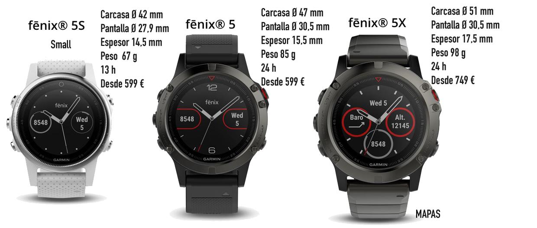 Garmin-Fenix-5-5S-5X-diferencias